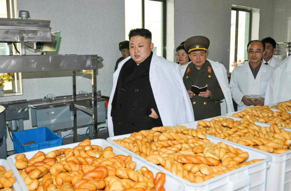 """Kim Jong-un, Chairman of the Workers' Party of Korea and Supreme Leader of the Democratic People's Republic of Korea, frequently likes to """"inspect"""" food processing plants.  Very frequently."""