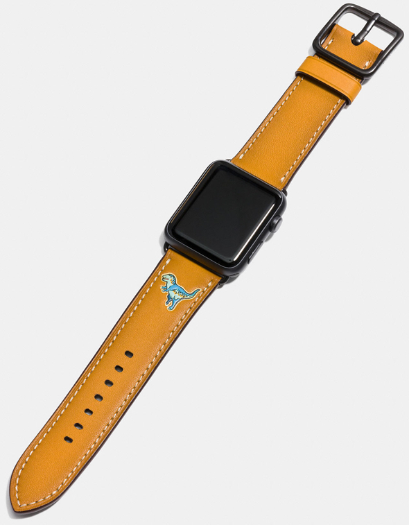 Apple Watch Rexy Leather Strap in goldenrod (US$150 by Coach)