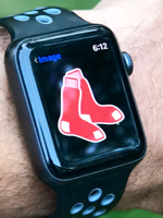 Apple Watch with Red Sox logo