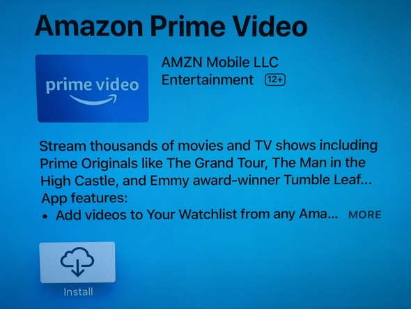 Amazon Prime Video app in the Apple TV App Store