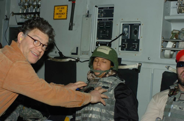 Al Franken and Leeann Tweeden during a USO Tour in 2006. (photo: KABC)