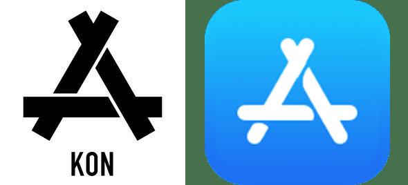 KON logo (left) vs. Apple App Store icon (right)