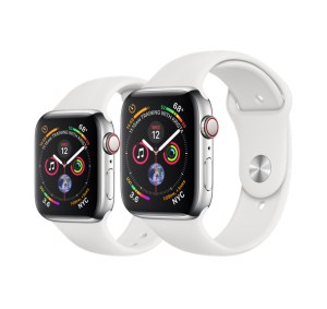 Apple Watch Series 4 (GPS + Cellular) in Stainless Steel Case with White Sport Band (40mm left, 44mm right)
