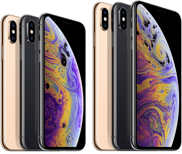 Apple's 5.8-inch iPhone Xs and 6.5-inch iPhone Xs Max (right)