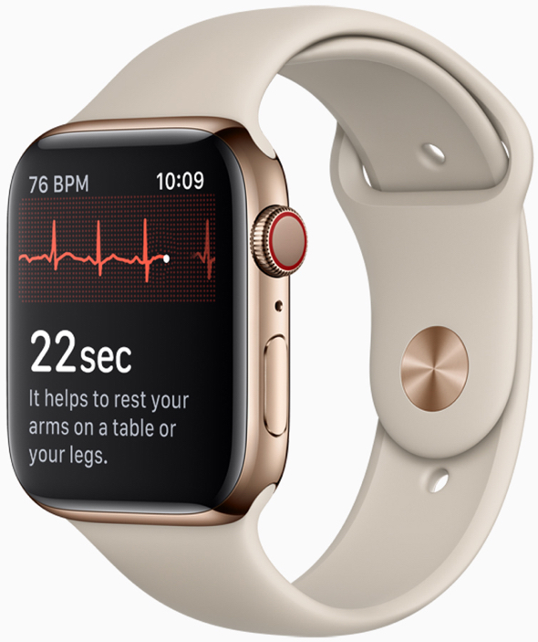 Touching the Apple Watch Series 4 Digital Crown completes the circuit and electrical signals over the heart are measured.
