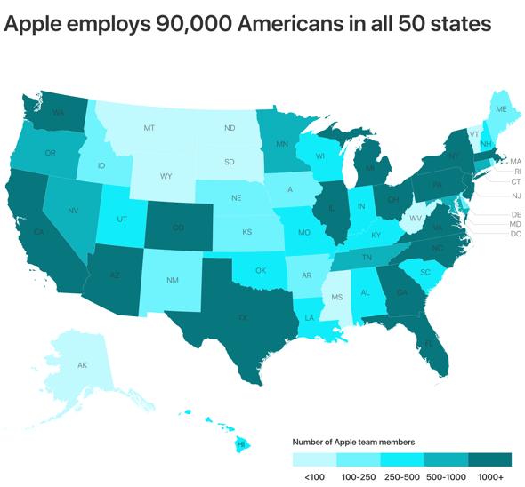 Apple U.S. employment map