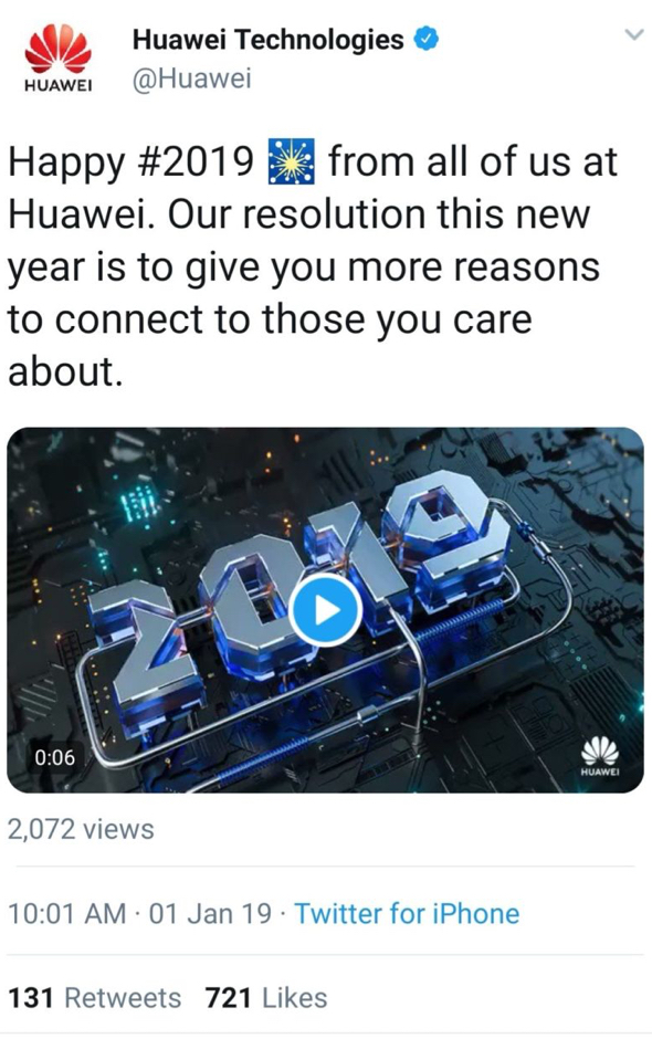 Huawei wishes followers 'Happy 2019' in a tweet sent from a real
