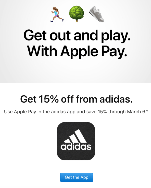 Apple Pay + Adidas promo