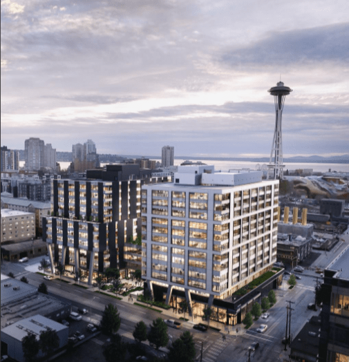 Construction of the two-building 333 Dexter project in Seattle's South Lake Union neighborhood began June 20, 2017. (Rendering: Miller Hull Partnership)