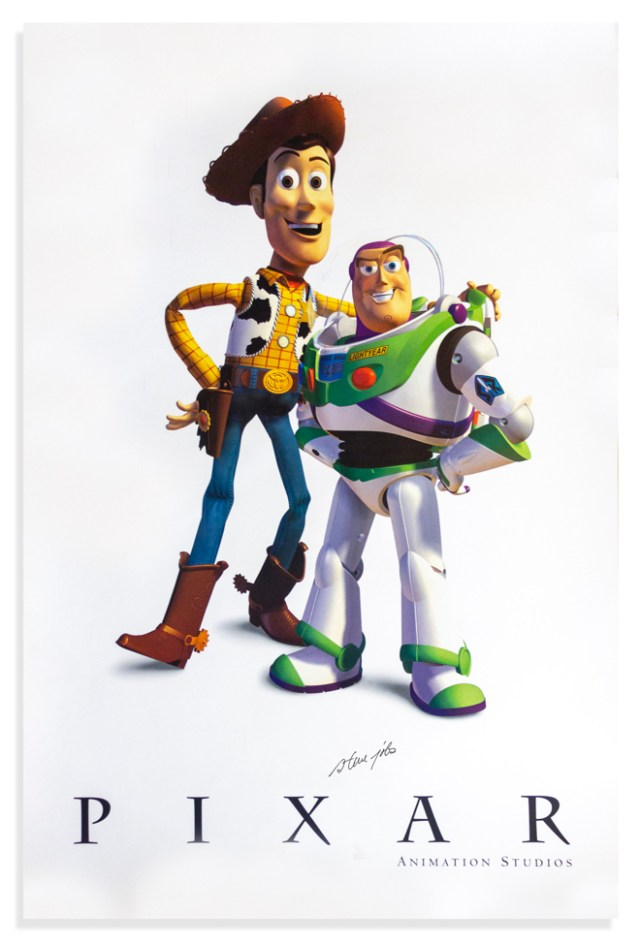 Steve Jobs' signed Pixar poster featuring the ''Toy Story'' lead characters.