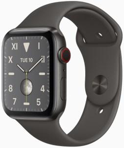 Apple Watch Series 5 in space black titanium.