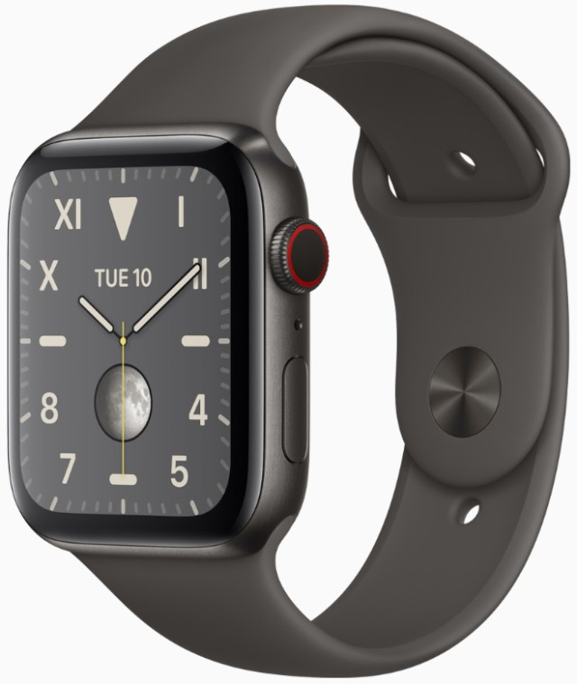 Apple again dominates worldwide wearables market. Image: Apple Watch Series 5 in space black titanium.