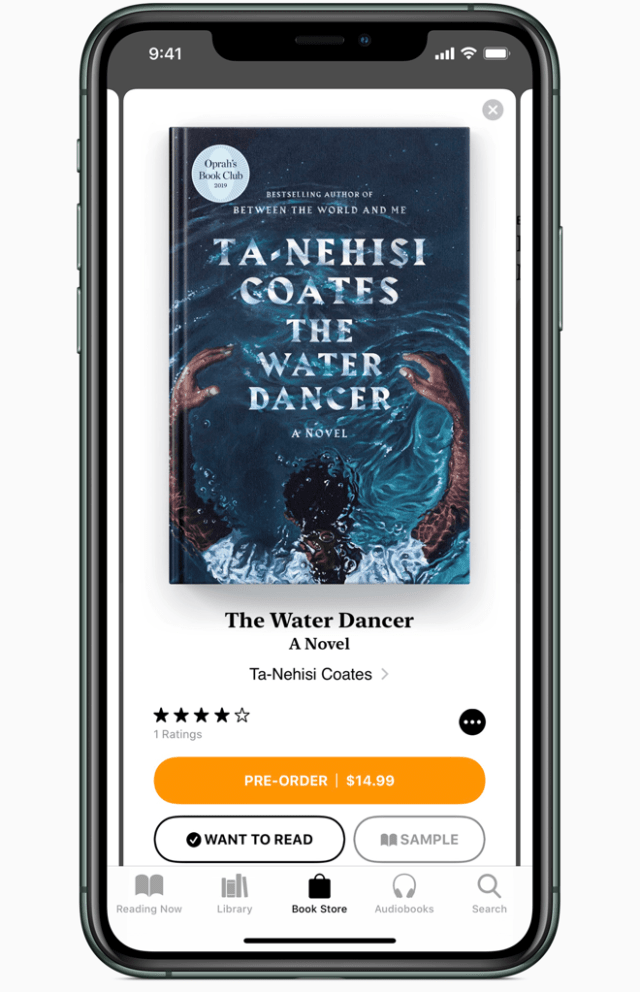 "The first selection from Oprah's Book Club is Ta-Nehisi Coates's novel ""The Water Dancer,"" available on the Apple Books app on iPhone, iPad and Mac."