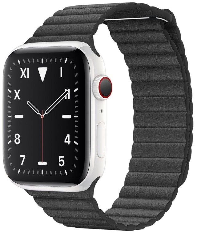 Apple Watch Edition Series 5 with white ceramic case and leather bow