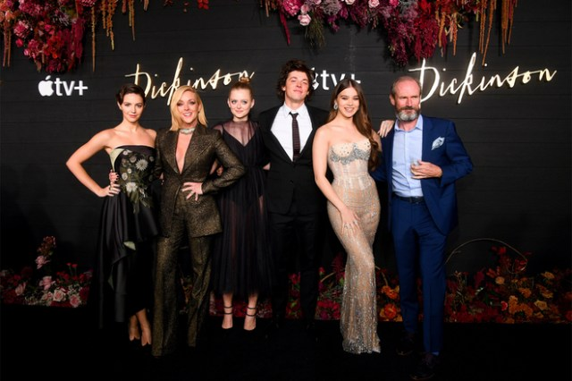 "The cast of ""Dickinson"" celebrates the launch of the new show coming to Apple TV+ on November 1. Left to right: Ella Hunt, Jane Krakowski, Anna Baryshnikov, Adrian Blake Enscoe, Hailee Steinfeld, Toby Huss."