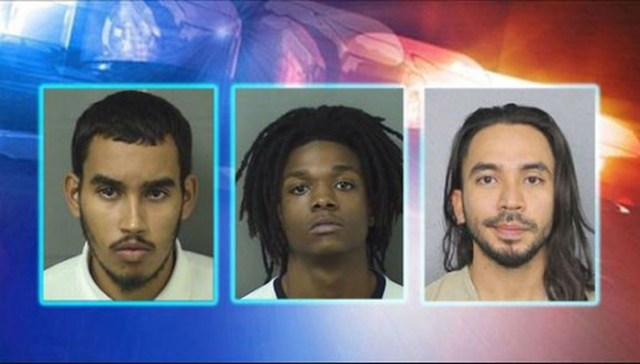 Suspects charged with murdering firefighter Christopher Randazzo are, from left, Jose Garcia Romero, Torrey Holston, and Marco Rico.