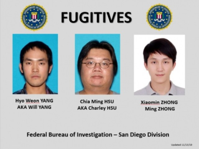 Fugitives Xiamon Zhong, who is believed to be in China; Charley Hsu of San Diego; and Hyo Weon Yang of San Francisco
