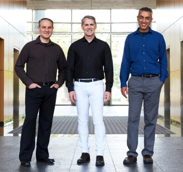 NUVIA Inc co-founders John Bruno, Gerard Williams III and Manu Gulati pose at the company's Santa Clara, California headquarters, U.S., in this undated handout photo released on November 15, 2019. Courtesy NUVIA Inc/Handout via REUTERS