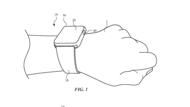 Apple Watch Digital Crown - Illustration from Apple's U.S. patent application showing a flat Digital Crown