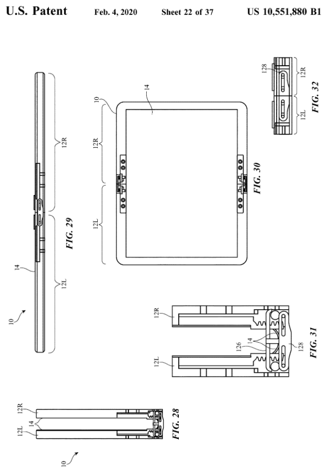 "Foldable iPhone? Apple U.S. Patent application illustration ""Electronic devices with flexible displays and hinges"""