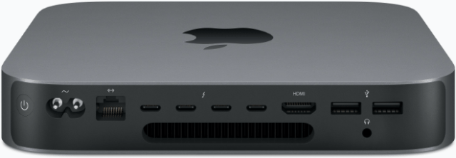 Apple's upgraded Mac mini (rear)