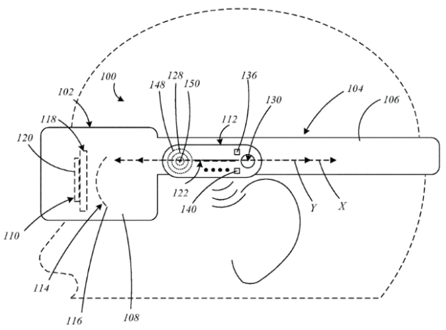 Apple Glasses audio. Image: Apple patent application illustration for display devices with multimodal audio