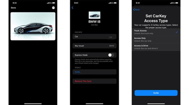 "Alleged screenshots of Apple's CarKey interface. | Source: ""DongleBookPro"" via Twitter"