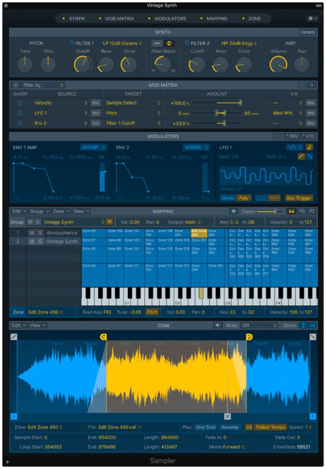 Sampler is a powerful professional multisampler that enables sound designers to create sophisticated instruments in minutes.