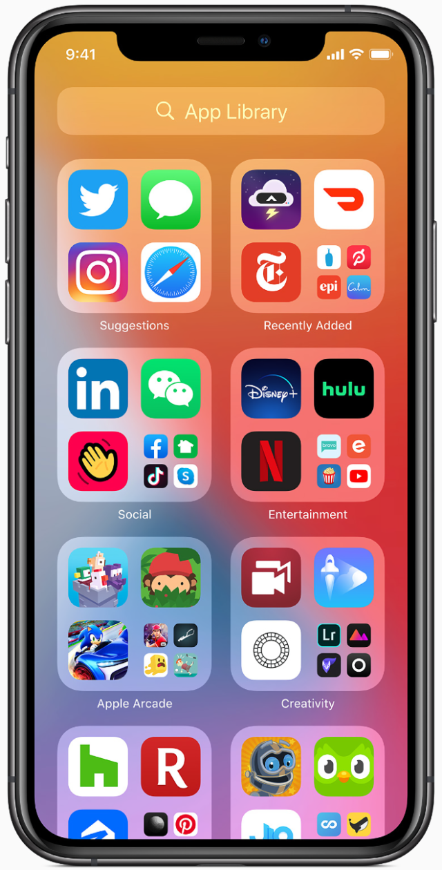 The App Library makes it easier for users to get to all of their apps with a simple, easy-to-navigate view at the end of the Home Screen pages.