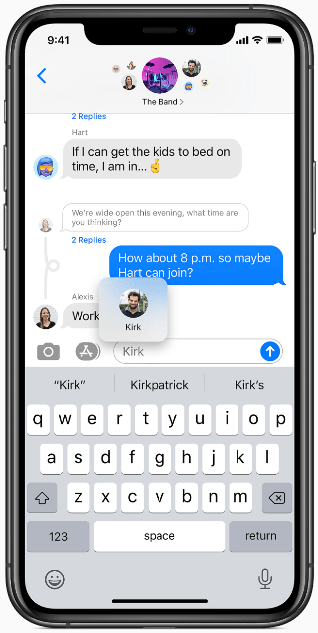 Messages enables users to reply directly to a message and keep track of all subsequent replies.