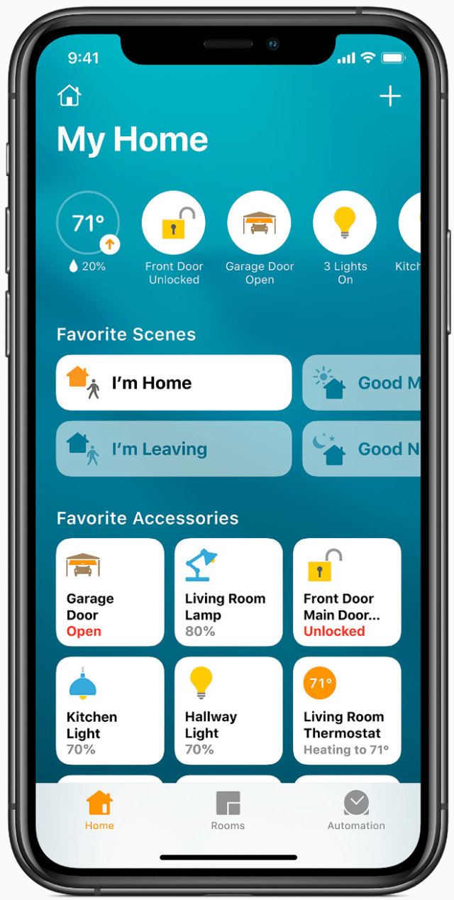 The Home app has a new visual status that provides an at-a-glance view of a user's smart home accessories.
