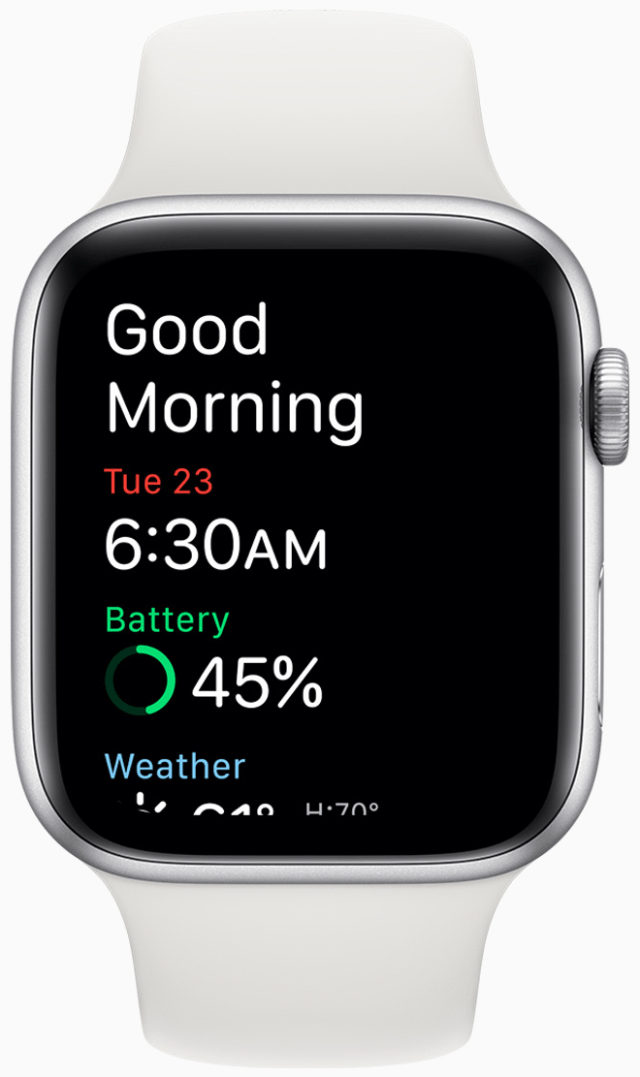 The wake-up screen shows the current battery level and weather.