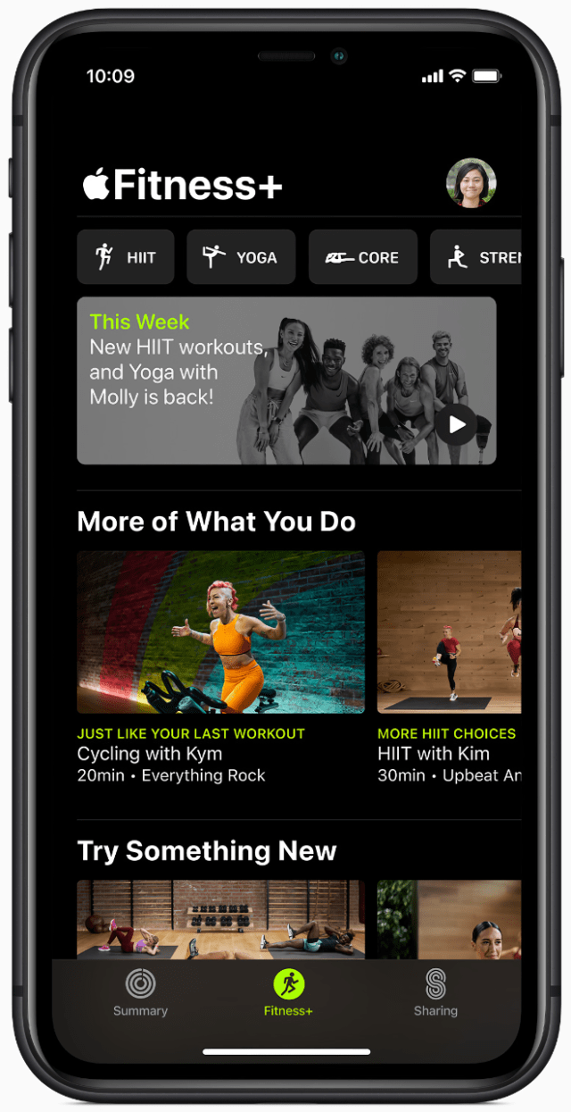 The browse experience in Apple Fitness+ helps customers quickly get to their next workout.