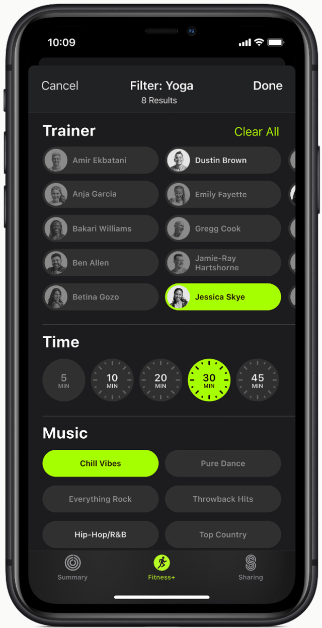 An intuitive filtering tool allows customers to easily find a great workout in Apple Fitness+.