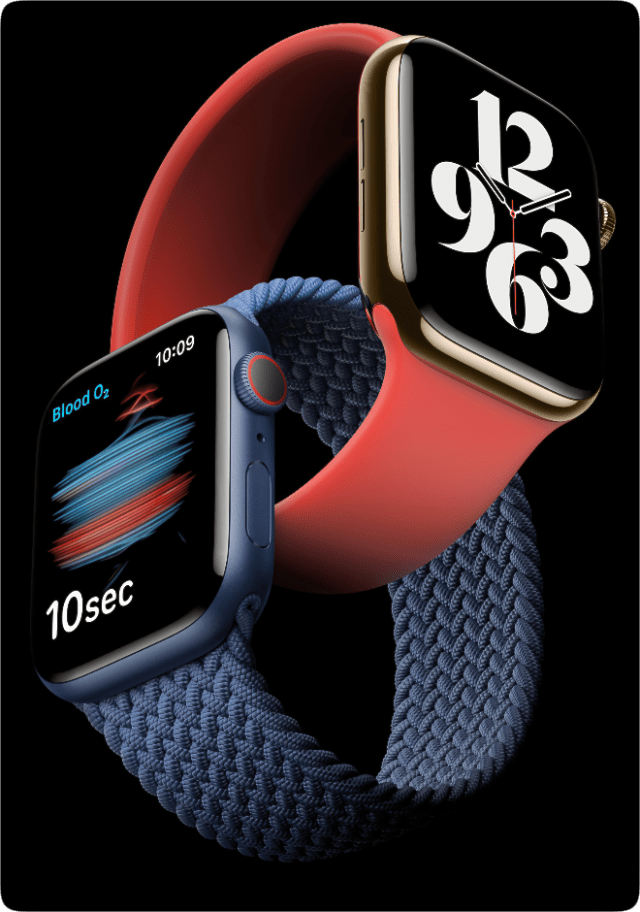 Introducing Apple Watch Series 6, featuring a revolutionary Blood Oxygen sensor and app.