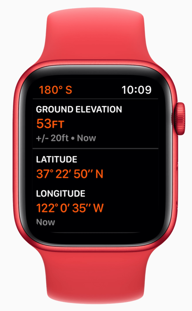 The always-on altimeter on Apple Watch Series 6 provides real-time elevation all day long.