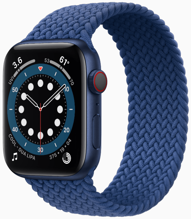 Apple Watch Series 6 with the clear braided solo loop and case in blue aluminum.