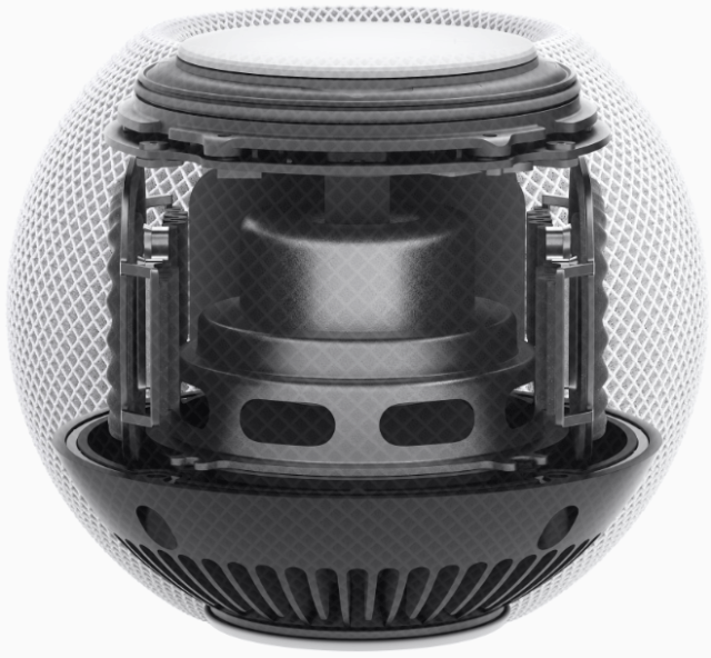 HomePod mini features custom hardware, including the Apple S5 chip, and advanced software to deliver breakthrough sound using computational audio.
