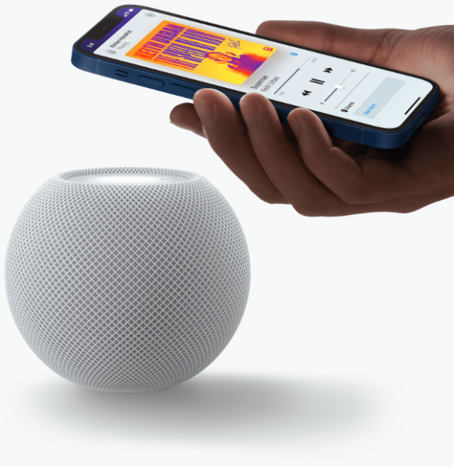 HomePod mini works with Apple devices so customers can seamlessly hand off music or automatically receive personalized listening suggestions on iPhone.