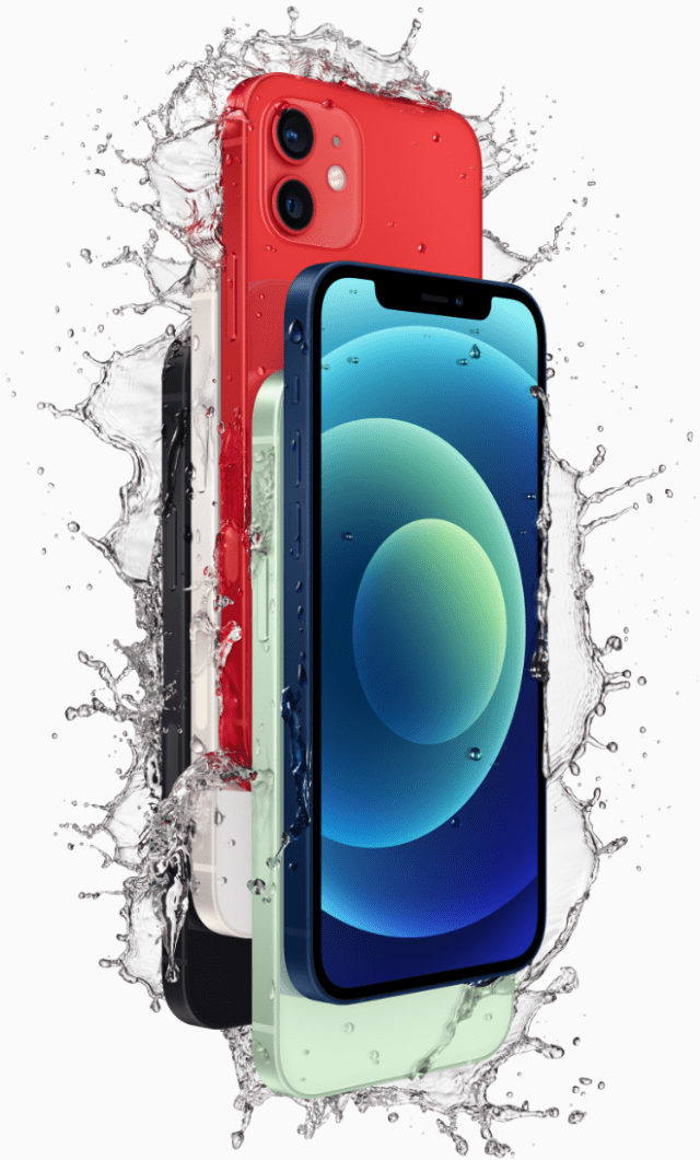 iPhone 12 and iPhone 12 mini have an industry-leading IP68 rating for water resistance and are protected against everyday spills.