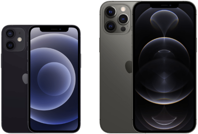 5.4-inch iPhone 12 mini (left) and 6.7-inch iPhone 12 Pro Max