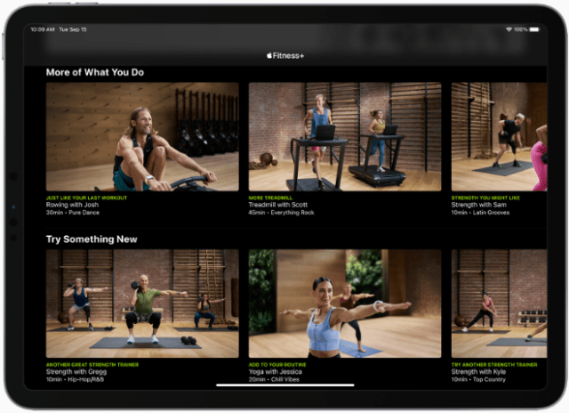 Apple Fitness+ users can work out anywhere and at anytime with the screen that best suits them across iPhone, iPad, or Apple TV.