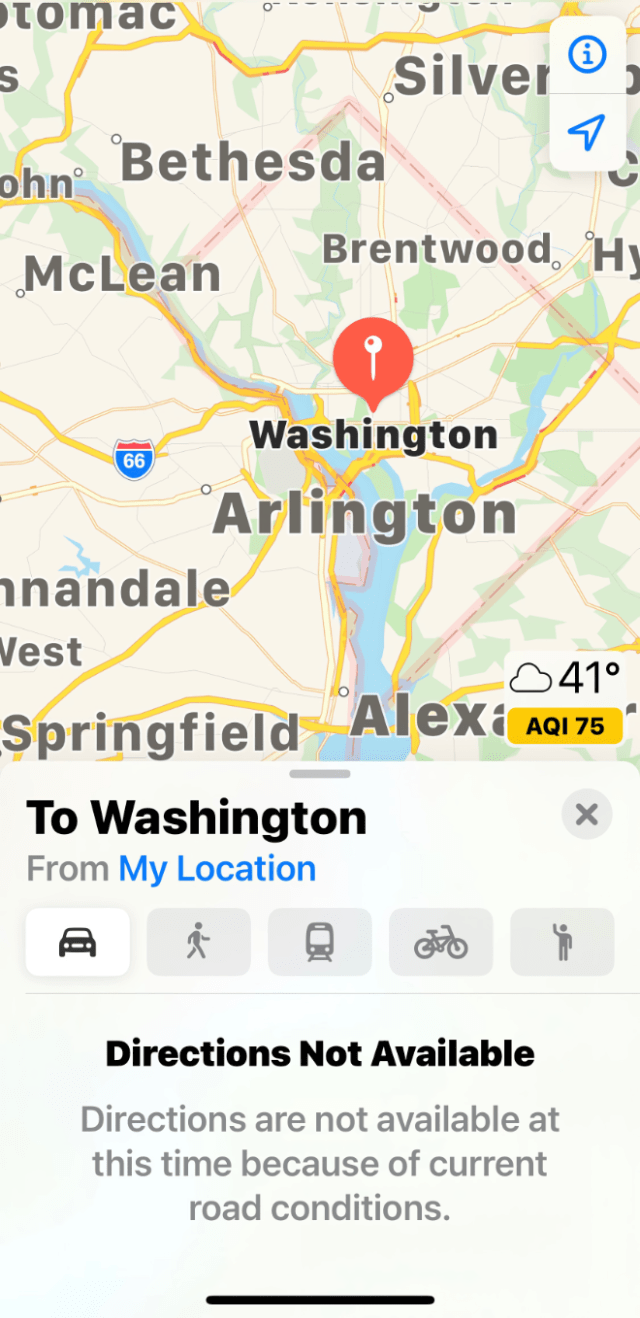 Apple Maps fails to provide driving directions to Washington D.C. one day ahead of March For Trump rally