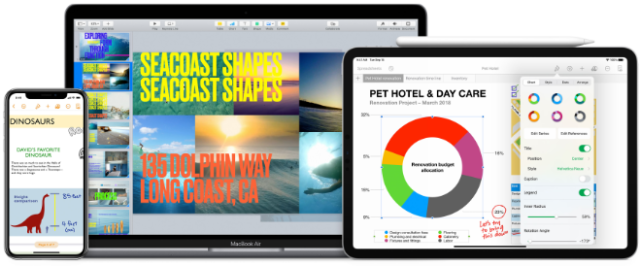 Pages, Numbers, and Keynote are the best ways to create amazing work. Templates and design tools make it easy to get started. You can even add illustrations and notations using Apple Pencil on your iPad. And with real‑time collaboration, your team can work together, whether they're on Mac, iPad, or iPhone, or using a PC.