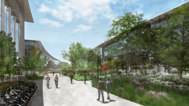 Construction for Apple's $1 billion Austin campus is underway, with employees expected to start moving into the space next year. (Rendering: Studio8 Architects and WP Visions)