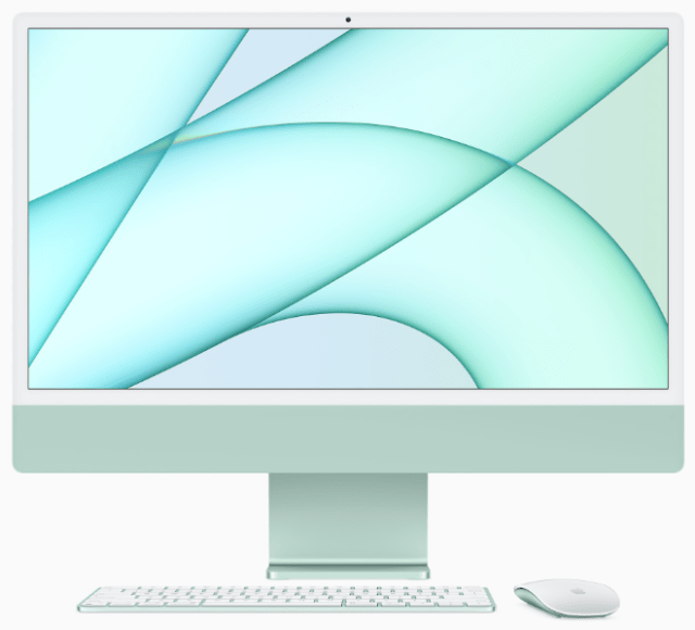 The all-new iMac models in green, pink, blue, and silver will be available for purchase at Apple Store locations, and all seven colors of iMac will be available at apple.com and on display at most stores.