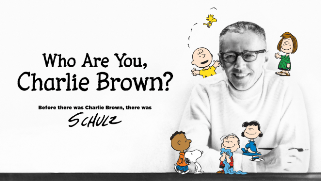 """Charles M. Schulz pictured with his beloved Peanuts characters in """"Who Are You, Charlie Brown?,"""" premiering on Apple TV+ on Friday, June 25."""