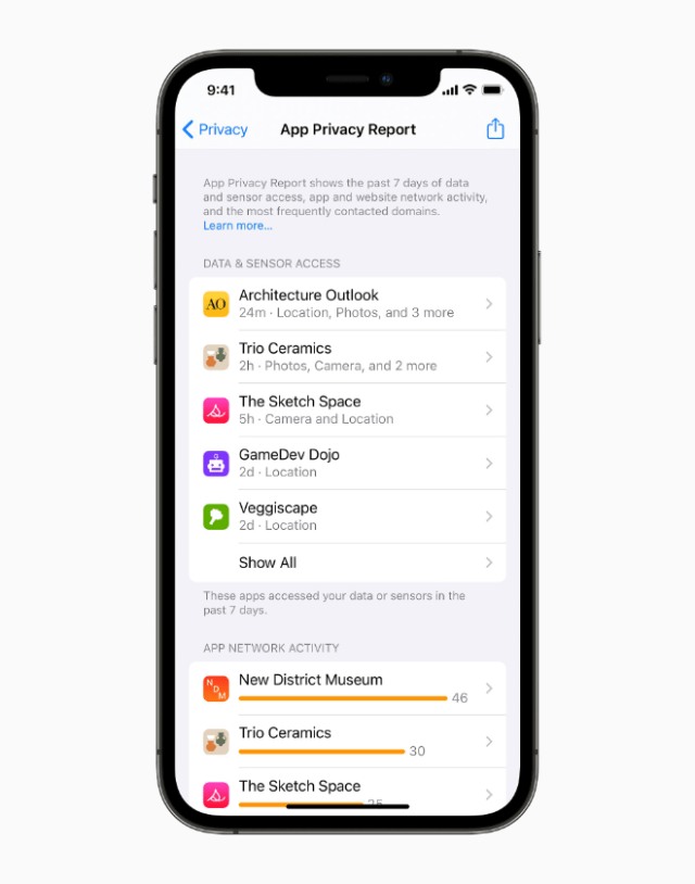 With App Privacy Report, users can see how often each app has used the permission they've previously granted to access their location, photos, camera, microphone, and contacts during the past seven days.