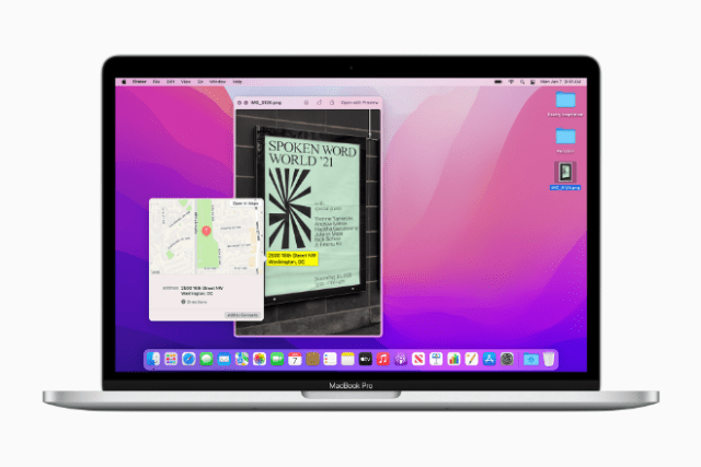 Live Text and Visual Lookup are new intelligence features that are powered by on-device machine learning and work across macOS.