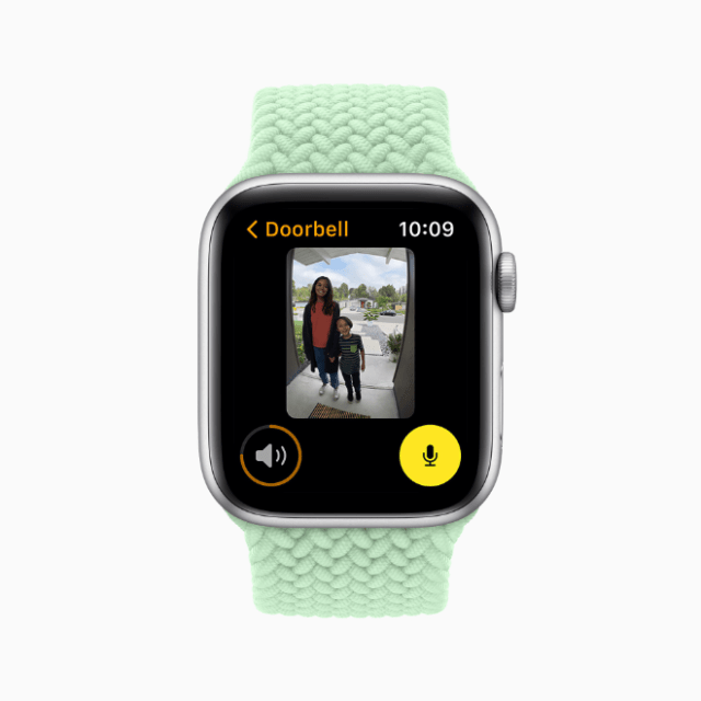 With watchOS 8, Apple Watch users with a HomeKit-enabled camera can view who is at the door directly on their wrist.